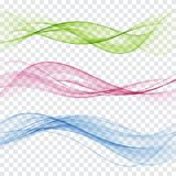 套抽象颜色波浪 颜色烟波浪 透明颜色波浪 蓝色,桃红色,红颜色 库存例证