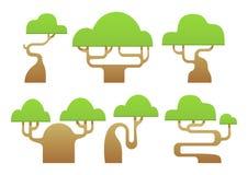 套抽象风格化树动画片 库存照片