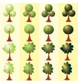 套抽象风格化树 艺术开花夹子例证结构树 免版税库存照片