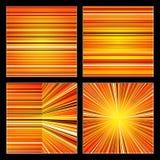 套抽象黄色和橙色减速火箭的条纹五颜六色的背景 库存图片