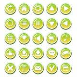 套接口的(比赛接口, app用户界面)黄绿色玻璃状按钮 免版税库存照片