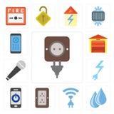 套插座,水,无线,智能手机,力量,话筒,雀鳝 皇族释放例证