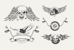 套摩托车象征,徽章,标签 图库摄影