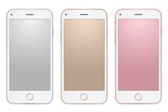 套数字式与空的屏幕的手机模板不同的颜色在透明背景 免版税库存照片
