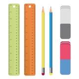 套文具用工具加工概述:统治者,铅笔,橡皮擦 学校用品,在传染媒介的画的集合 免版税库存照片