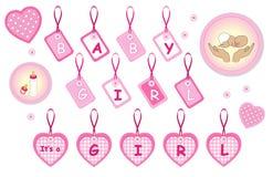 新出生的女婴设计元素 库存图片