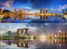 套新加坡地平线和看法在小游艇船坞咆哮 免版税图库摄影