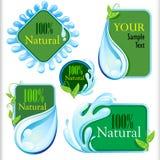 套新和自然水标签 库存例证