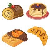 套新月形面包、jamroll、puncake和奶蛋烘饼 免版税图库摄影