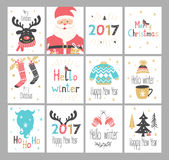 套新年和圣诞节贺卡 库存照片