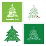 套新年树用运动器材 能使用作为greating c 免版税库存照片