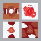 套方形的卡片,手拉,装饰用液体墨水刷子飞溅,污点、条纹、冲程和斑点 隔绝在backgroun 免版税库存图片