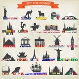 套旅游标志 也corel凹道例证向量 最著名的旅游地方 免版税库存图片