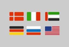 套旗子,从几何的风格化旗子:俄罗斯,德国 美国 免版税库存照片