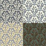 套无缝与抽象五颜六色花卉 免版税库存图片