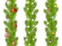 套无缝的圣诞树分支边界 库存照片