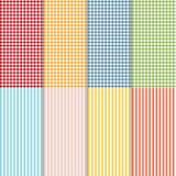 套无缝的方格花布、水牛检查格子花呢披肩和床单样式 八方格和镶边无缝的样式 向量例证