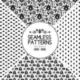 套无缝的样式图表元素 斯堪的纳维亚样式的纹理 鸟花设置了贴纸向量 黑白民间传说 库存图片