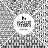 套无缝的样式图表元素 斯堪的纳维亚样式的纹理 鸟花设置了贴纸向量 黑白民间传说 免版税图库摄影