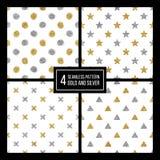 套无缝的样式金黄和银星,圈子,三角洲,加上 库存照片