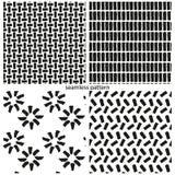 套无缝的样式-抽象不对称的砖 皇族释放例证