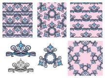 套无缝的样式-花饰和元素 库存照片