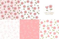 套无缝的桃红色花纹花样 库存图片