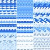 套无缝的海波动图式 免版税图库摄影