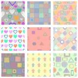 套无缝的用不同的几何图,形式的传染媒介几何样式 与手拉的tex的淡色不尽的背景 库存例证