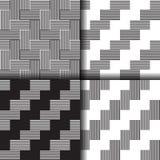 套无缝的线性黑白样式 免版税库存照片