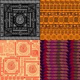 套无缝的背景种族手拉的五颜六色的样式 向量例证