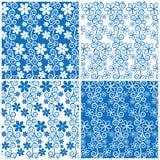 套无缝的蓝色花纹花样 库存照片