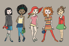 套时尚成套装备的Ñ 犹特人青少年的女孩 身体模板 也corel凹道例证向量 库存照片