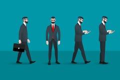 套时髦书呆子行家businessmans 抽象平的传染媒介企业概念性例证 背景设计要素空白四的雪花 免版税库存图片