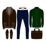 套时髦人的衣裳 人羊毛衫、衬衣、裤子和辅助部件成套装备  人s衣橱 图库摄影
