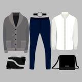 套时髦人的衣裳 人羊毛衫、衬衣、裤子和辅助部件成套装备  人s衣橱 免版税库存照片