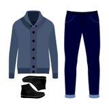 套时髦人的衣裳 人羊毛衫、裤子和和辅助部件成套装备  人s衣橱 免版税库存图片
