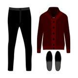 套时髦人的衣裳 人羊毛衫、裤子和辅助部件成套装备  人s衣橱 免版税库存照片
