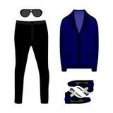 套时髦人的衣裳 人羊毛衫、裤子和辅助部件成套装备  人s衣橱 免版税库存图片