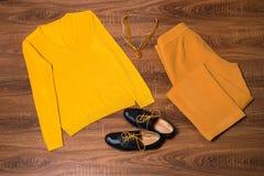 套时髦的女性衣裳和辅助部件 免版税库存照片