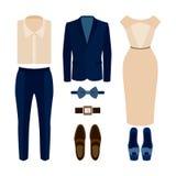 套时髦衣裳 人成套装备和妇女衣裳和辅助部件 免版税库存图片
