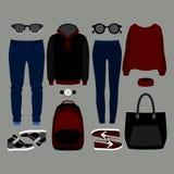 套时髦衣裳 人成套装备和妇女衣裳和辅助部件 免版税图库摄影