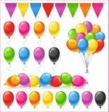 套明亮的光滑的色的气球 免版税图库摄影