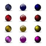 套明亮的圣诞节球 库存例证
