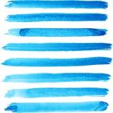 套明亮的蓝色颜色刷子冲程 免版税库存图片