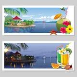 套明信片有热带看法 免版税库存照片