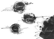 套春天月的名字:行军, 4月,可以,用手画与液体墨水染料,在徒手画的样式 大光栅例证, 免版税库存照片
