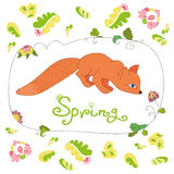 套春天花和叶子和逗人喜爱的狐狸 免版税库存图片