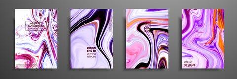 套普遍传染媒介卡片 液体大理石纹理 邀请的,招贴,小册子,海报,横幅五颜六色的设计 向量例证