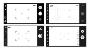 套智能手机照相机反光镜 照相机的模板聚焦的屏幕 经典反光镜照相机录音 录影屏幕vec 免版税库存照片